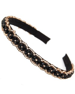 Crystal Beads and Golden Beads Decorated Handmade Sweet Fashion Hair Hoop - Black