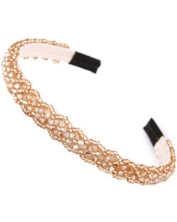 Crystal Beads and Golden Beads Decorated Handmade Sweet Fashion Hair Hoop - Champagne