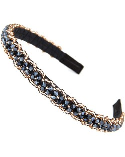 Crystal Beads and Golden Beads Decorated Handmade Sweet Fashion Hair Hoop - Dark Blue
