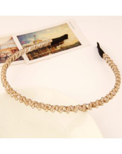 Korean Fashion Cloth Weaving Crystal Beads Attached Hair Hoop - Champagne