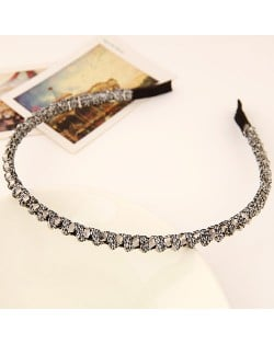 Korean Fashion Cloth Weaving Crystal Beads Attached Hair Hoop - Gray