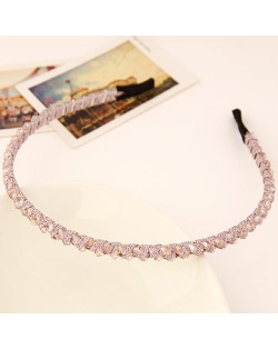 Korean Fashion Cloth Weaving Crystal Beads Attached Hair Hoop - Violet