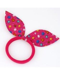 Floral Cloth Bunny Ears Rubber Hair Band - Fuchsia