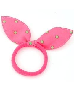 Polka Dot Cloth Bunny Ears Rubber Hair Band - Pink