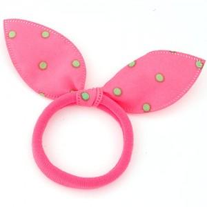 Polka Dot Cloth Bunny Ears Rubber Hair Band - Pink 4efeb52af3a