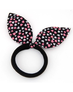 Hearts Print Cloth Bunny Ears Rubber Hair Band - Black and Pink