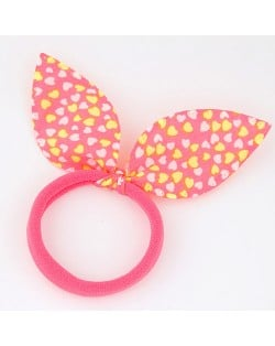 Hearts Print Cloth Bunny Ears Rubber Hair Band - Pink and Yellow