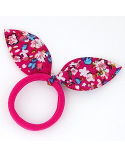 Floral Cloth Bunny Ears Rubber Hair Band - Rose