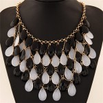 Gradient Color Waterdrop Beads Fashion Collar Necklace - Black