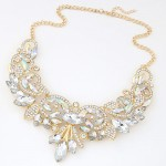 Luxurious Rhinestone and Resin Gems Combo Romantic Hollow Floral Fashion Necklace - Golden