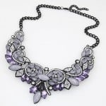 Luxurious Rhinestone and Resin Gems Combo Romantic Hollow Floral Fashion Necklace - Black