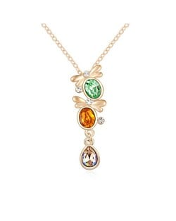 Love Theme Twin Butterflies Austrian Crystal Pendant Gold Plated Necklace - Olive