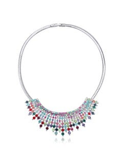 Gorgeous Radiational Shape Austrian Crystal Banquet/Event Necklace - Multicolor