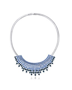 Gorgeous Radiational Shape Austrian Crystal Banquet/Event Necklace - Blue