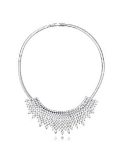 Gorgeous Radiational Shape Austrian Crystal Banquet/Event Necklace - White