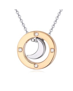 Austrian Crystal Embellished Gold Plated Ring Pendant Necklace - Moon