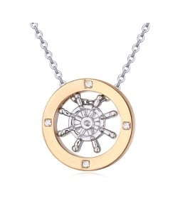 Austrian Crystal Embellished Gold Plated Ring Pendant Necklace - Rudder
