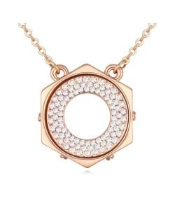Austrian Crystal Hexagon Love Ring Pendant Golden Necklace - White