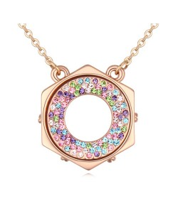 Austrian Crystal Hexagon Love Ring Pendant Golden Necklace - Multicolor