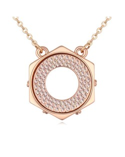 Austrian Crystal Hexagon Love Ring Pendant Golden Necklace - Light Peach