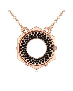 Austrian Crystal Hexagon Love Ring Pendant Golden Necklace - Black