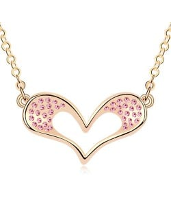 Adorable Cartoon Style Austrian Crystal Embellished Heart Pendant Champaign Necklace - Light Rose