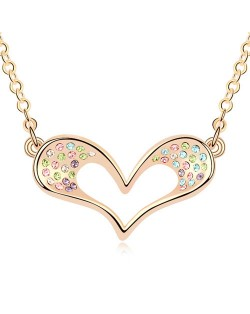 Adorable Cartoon Style Austrian Crystal Embellished Heart Pendant Champaign Necklace - Multicolor