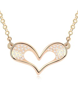Adorable Cartoon Style Austrian Crystal Embellished Heart Pendant Champaign Necklace - White