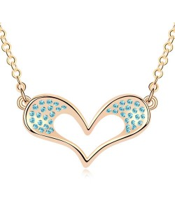 Adorable Cartoon Style Austrian Crystal Embellished Heart Pendant Champaign Necklace - Aquamarine