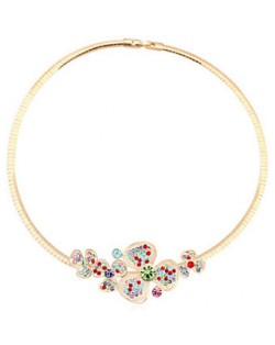 Austrian Crystal Flower Cluster Golden Necklet - Multicolor