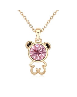 Cutie Bear Austrian Crystal Pendant Golden Necklace - Light Rose