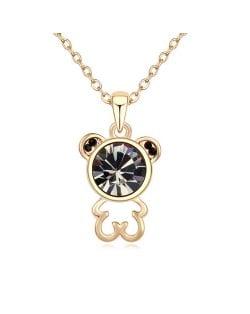 Cutie Bear Austrian Crystal Pendant Golden Necklace - Black