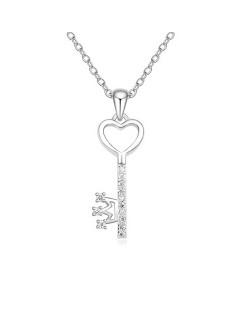 Crown Key Pendant Austrian Crystal Platinum Necklace