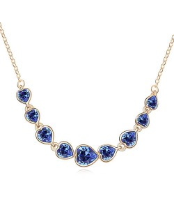 Gorgeous Linked Hearts Design Austrian Crystal Golden Necklace - Blue