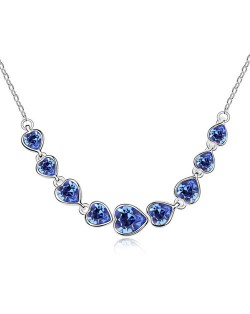 Gorgeous Linked Hearts Design Austrian Crystal Platinum Necklace - Blue