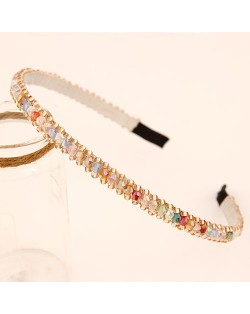 Korean Fashion Crystal Beading Hair Hoop - Multi-color