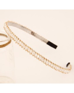 Korean Fashion Crystal Beading Hair Hoop - White