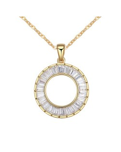 Gorgeous Cubic Zirconia Shining Ring Pendant Gold Plated Copper Necklace - Champagne Gold