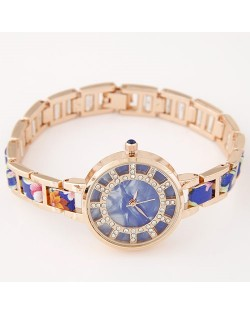 Floral Prints Rhinestone Decorated Radial Pattern Women Fashion Wrist Watch - Blue