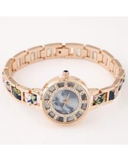 Floral Prints Rhinestone Decorated Radial Pattern Women Fashion Wrist Watch - Dark Blue