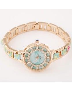 Floral Prints Rhinestone Decorated Radial Pattern Women Fashion Wrist Watch - Light Green