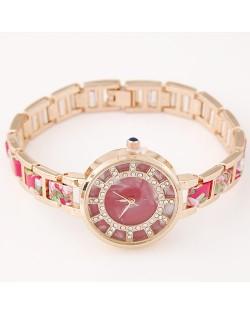 Floral Prints Rhinestone Decorated Radial Pattern Women Fashion Wrist Watch - Red