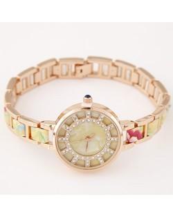 Floral Prints Rhinestone Decorated Radial Pattern Women Fashion Wrist Watch - Yellow