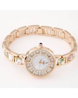 Floral Prints Rhinestone Decorated Radial Pattern Women Fashion Wrist Watch - White