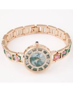 Floral Prints Rhinestone Decorated Radial Pattern Women Fashion Wrist Watch - Green