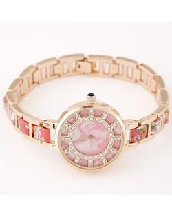 Floral Prints Rhinestone Decorated Radial Pattern Women Fashion Wrist Watch - Pink