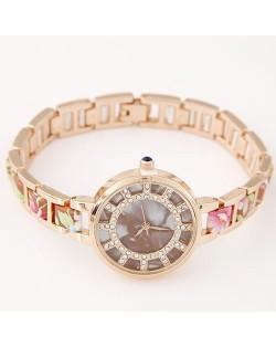 Floral Prints Rhinestone Decorated Radial Pattern Women Fashion Wrist Watch - Chocolate
