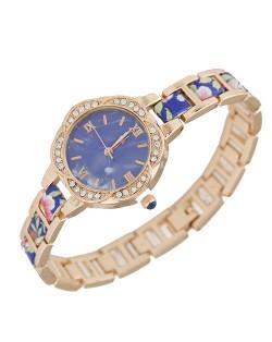 Rhinestone Rimmed Plum Blossom Shape Floral Prints Women Fashion Watch - Blue