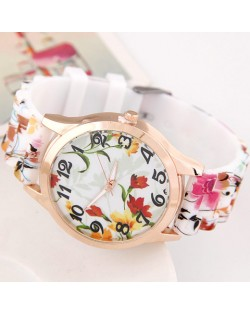 Summer Flowers and Plants Theme Silicone Women Fashion Wrist Watch