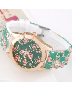 Various Roses Design Silicone Women Fashion Wrist Watch - Green